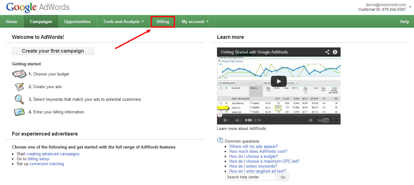 How to Apply a Google AdWords Promotional Code With Billing Profile Already Set Up: Step 1