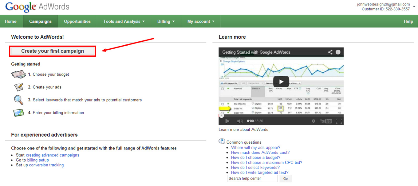How to Create a Google AdWords Campaign: Step 1