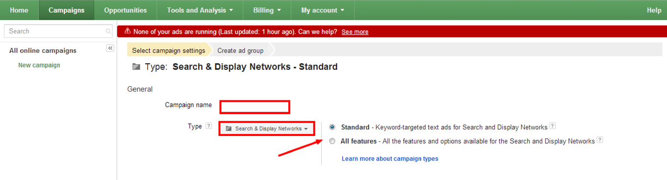 How to Create a Google AdWords Campaign: Step 2a & 2b