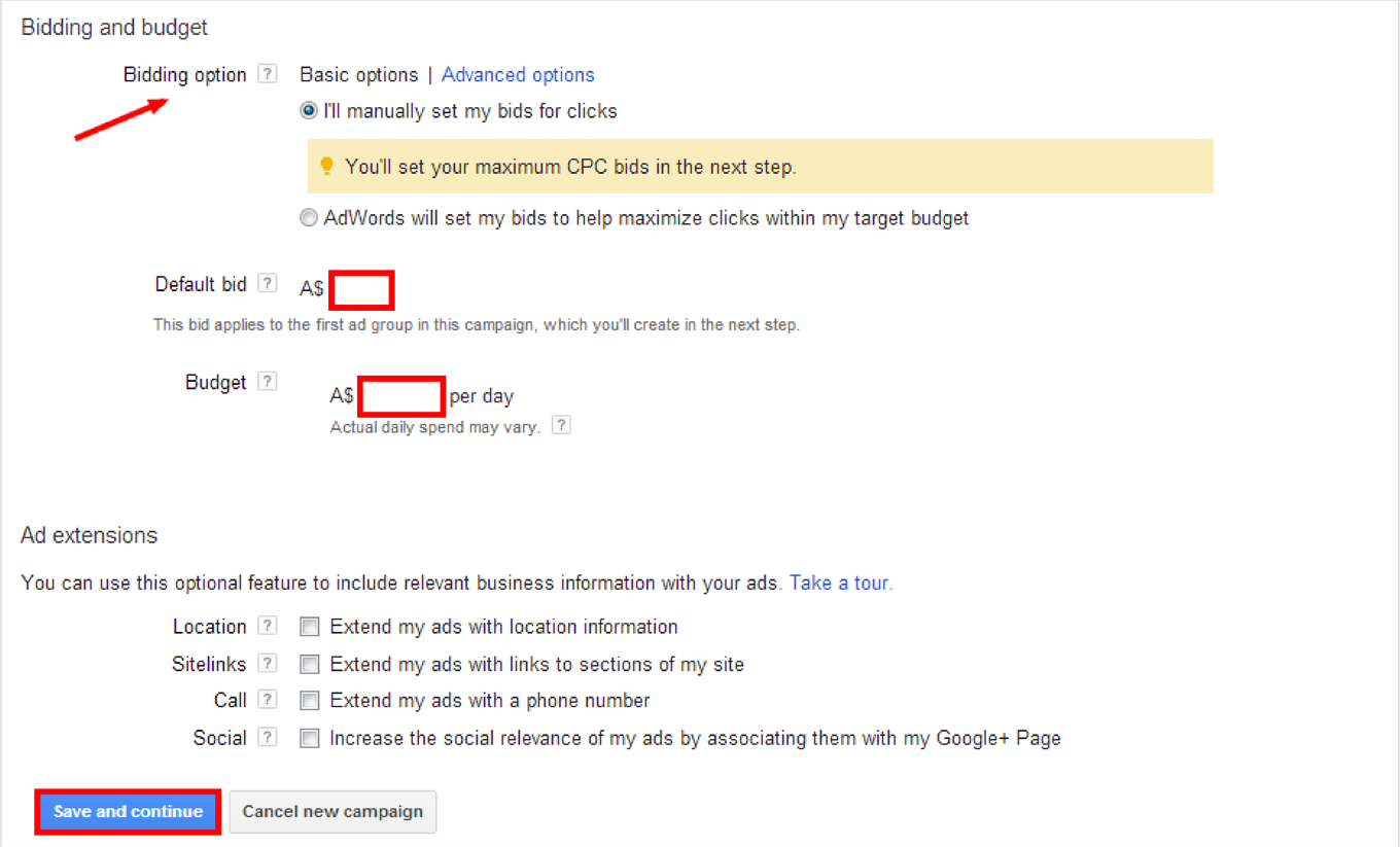 How to Create a Google AdWords Campaign: Step 2g, 2h, 2i