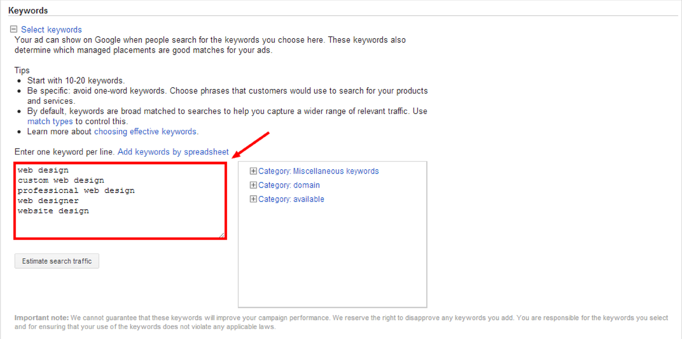 How to Create a Google AdWords Campaign: Step 3c