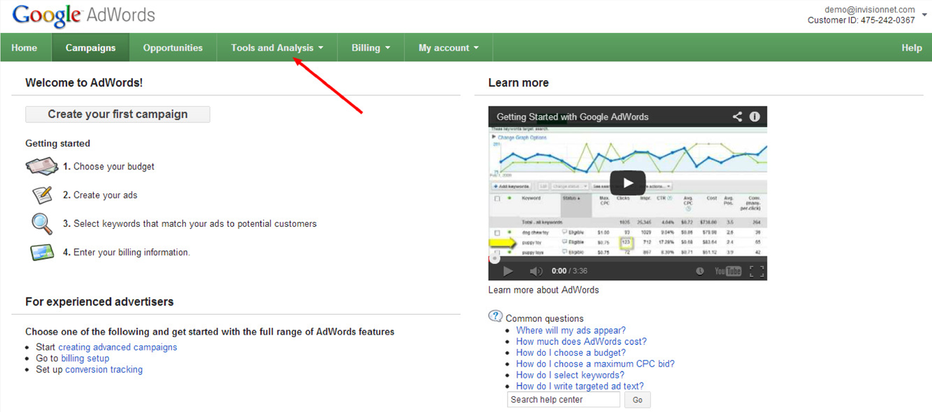 How to Link Google Analytics to AdWords: Step 1