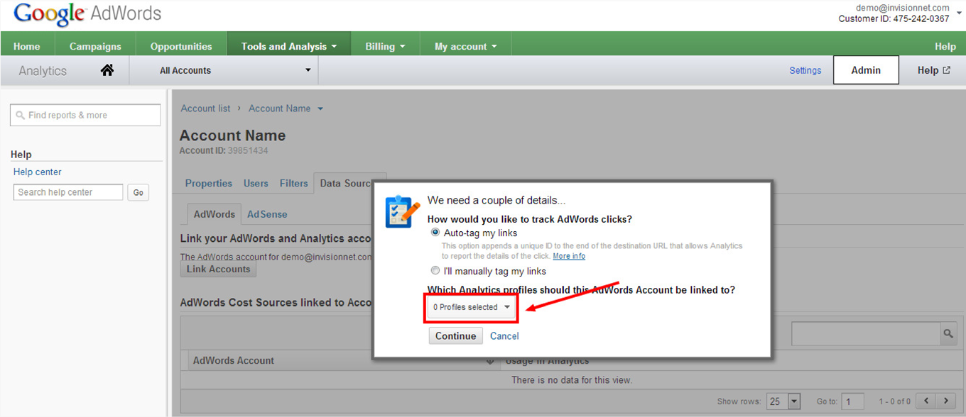 How to Link Google Analytics to AdWords: Step 6