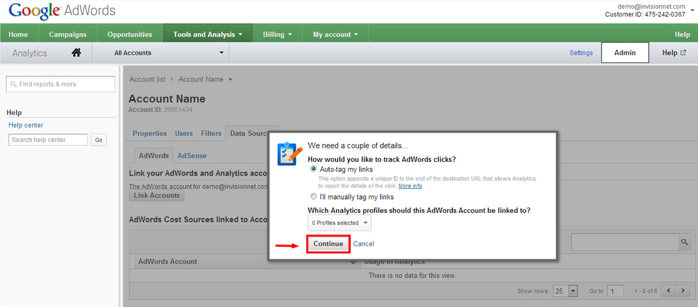 How to Link Google Analytics to AdWords: Step 7
