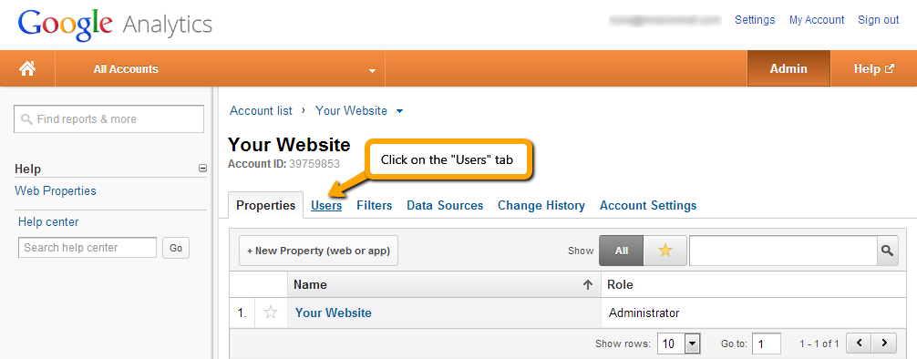 How To Give Administrator Access to Google Analytics: Step 3.