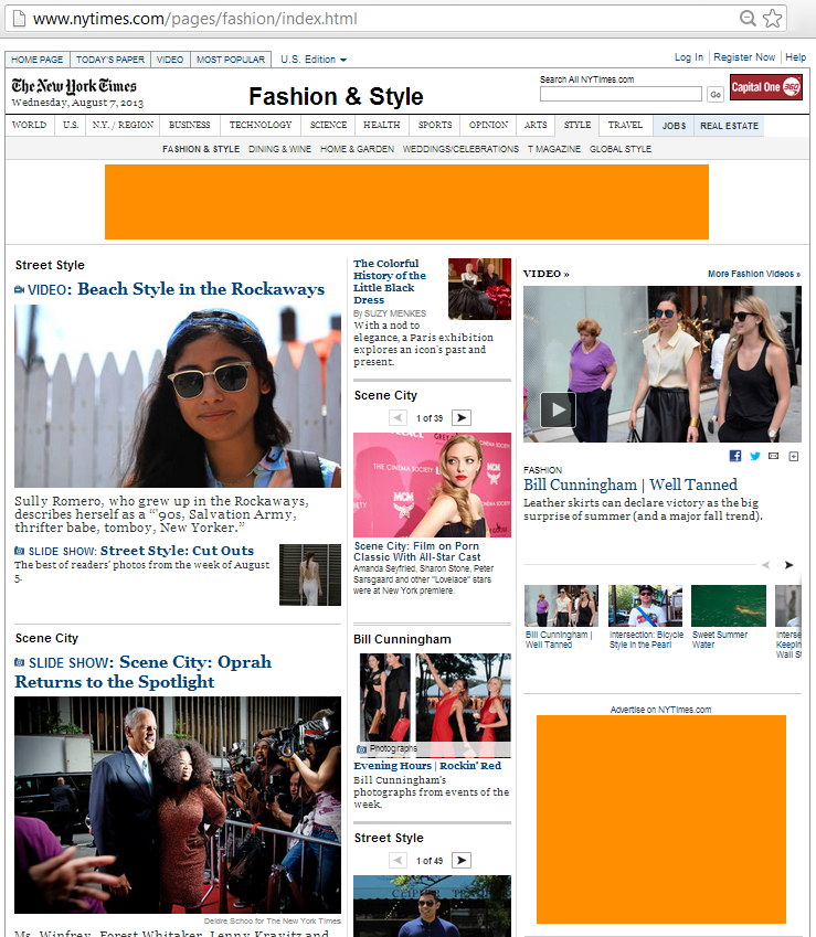 The NY Times Fashion & Style page has a leaderboard and an inline rectangle banner