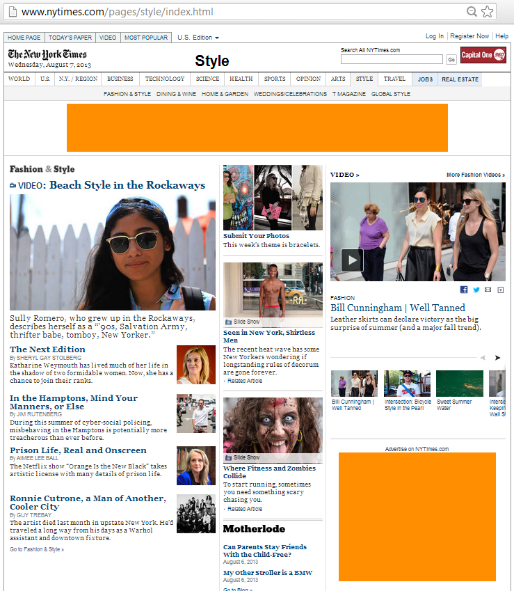 The NY Times Style page has a leaderboard and an inline rectangle banner