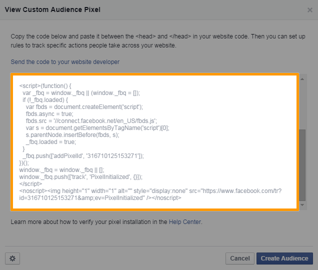 Facebook Custom Audience Pixel