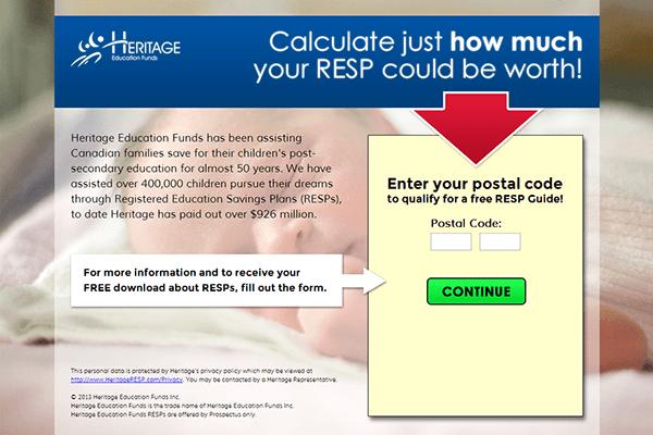 Heritage RESP LP Split Test Results
